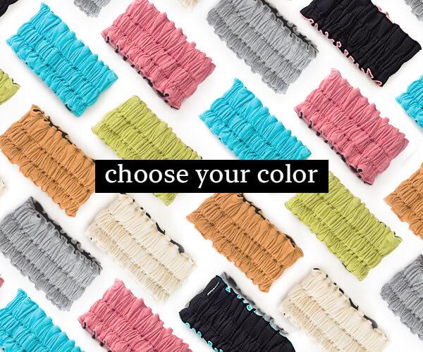 色が選べる事を訴求した加圧式リフトアップターバンのバナーデザイン