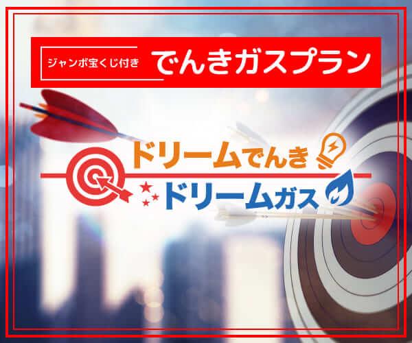 【業界初】宝くじ付き電力サービス【ドリームでんき・ガス】のバナーデザイン