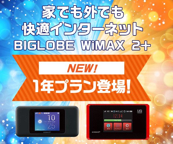 【BIGLOBE WiMAX 2+】家でも外でも快適インターネットのバナーデザイン