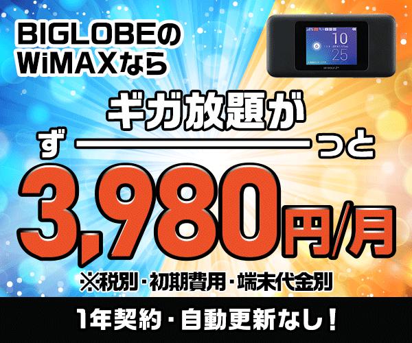 公式/キャンペーン実施中!【BIGLOBE WiMAX 2+】ギガ放題のバナーデザイン