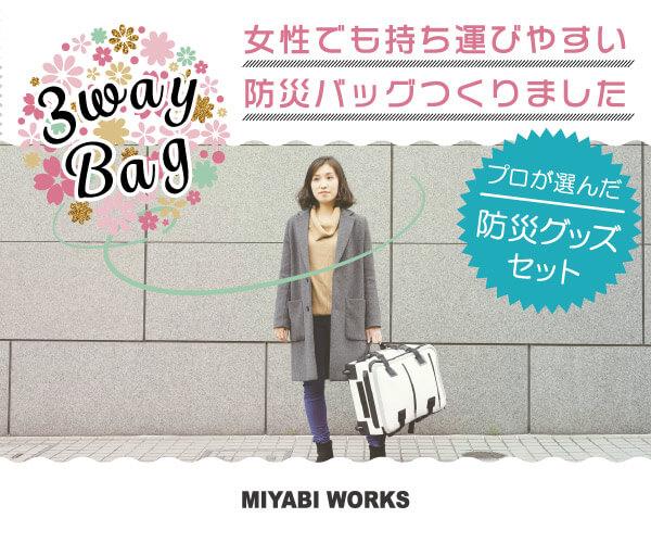 女性でも持ち運びやすい防災バッグ作りましたのバナーデザイン
