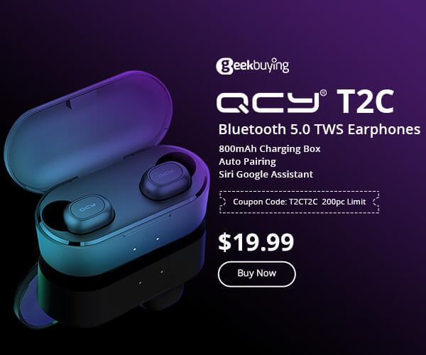 総合通販サイト【GeekBuying】QCY T2C Bluetooth 5.0 TWS Earphonesのバナーデザイン