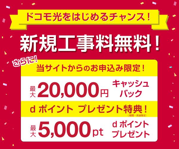 【ドコモ光】初期工事費無料!当サイト限定!最大20,000円キャッシュバック!のバナーデザイン