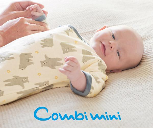 赤ちゃんがよく笑うベビー服をつくりたい【Combimini(コンビミニ)】のバナーデザイン